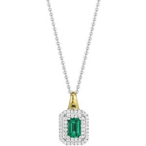 Jewelry - Pendant Necklace Two Tone Gold 14K 3.80 Carats Eme